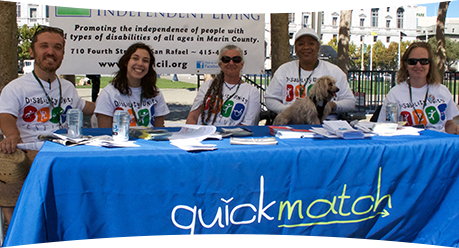 Photo of the Marin CIL QuickMatch Team: Eli, Maggie, Susan, Renee, and Kelly.